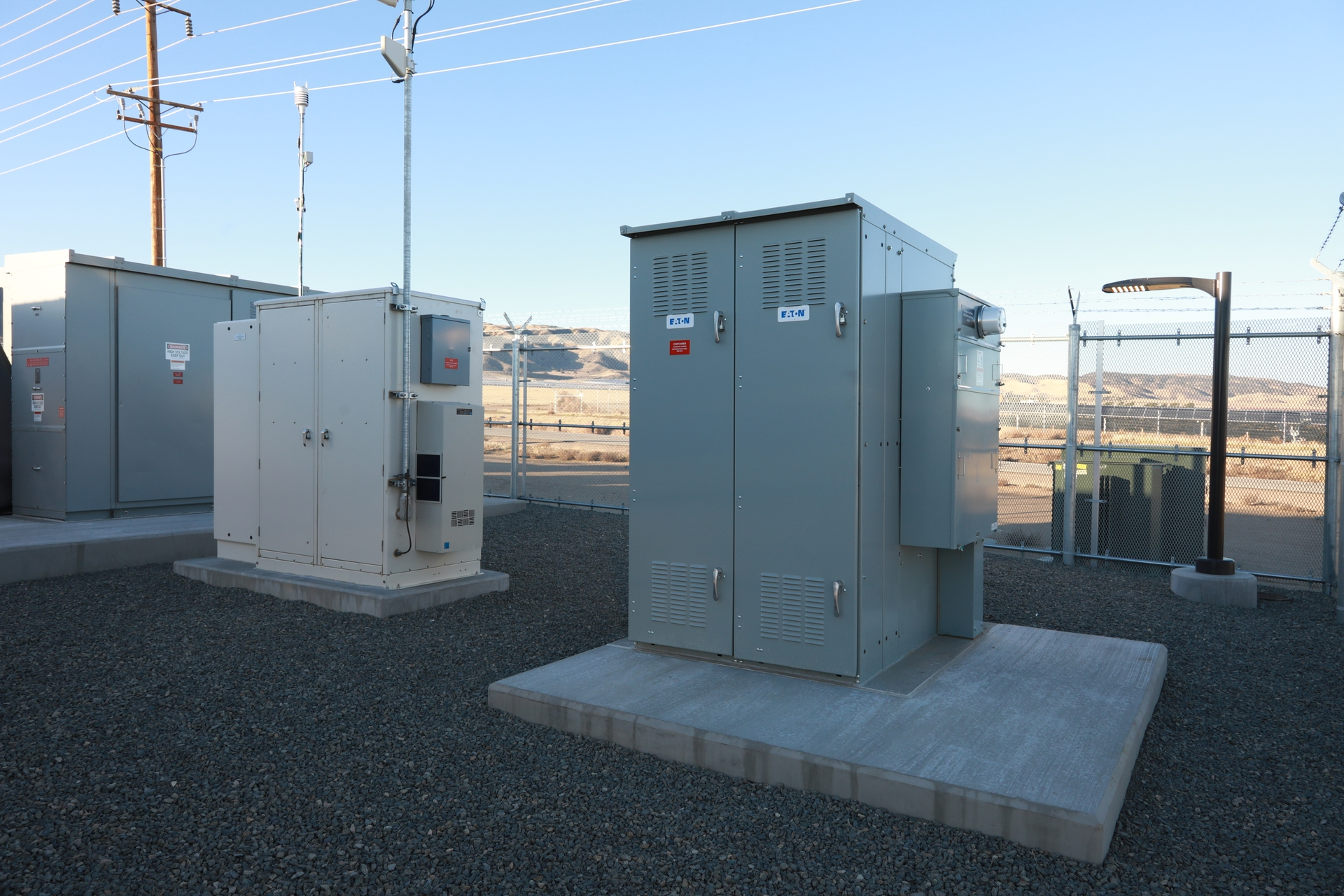 System elements (l-r): 12kV switchgear, communications cabinet, and the auxiliary power distribution panel, which powers the controls, lights and air-conditioning systems.