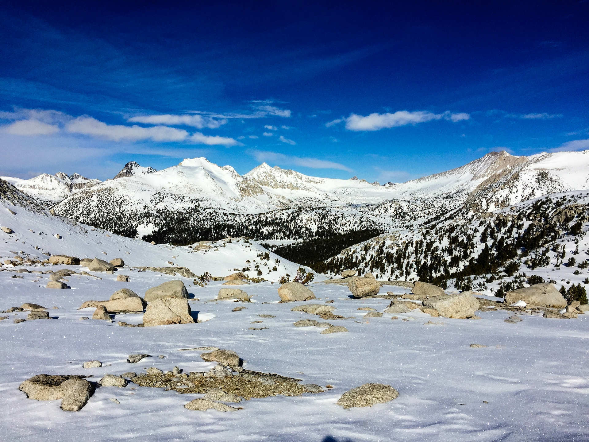 The view in late January from the Mono Pass snow course looking toward Pioneer Basin.
