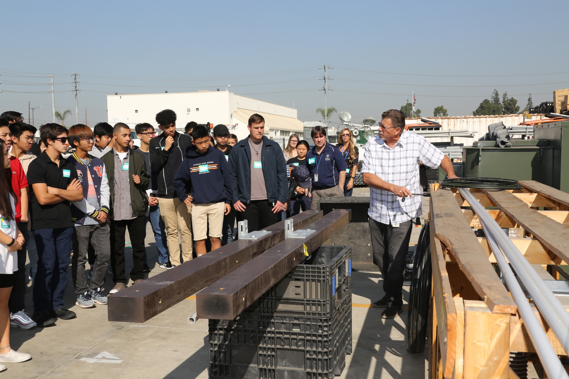 Students from Cypress High School tour the yard at SCE's Santa Ana Service Center.