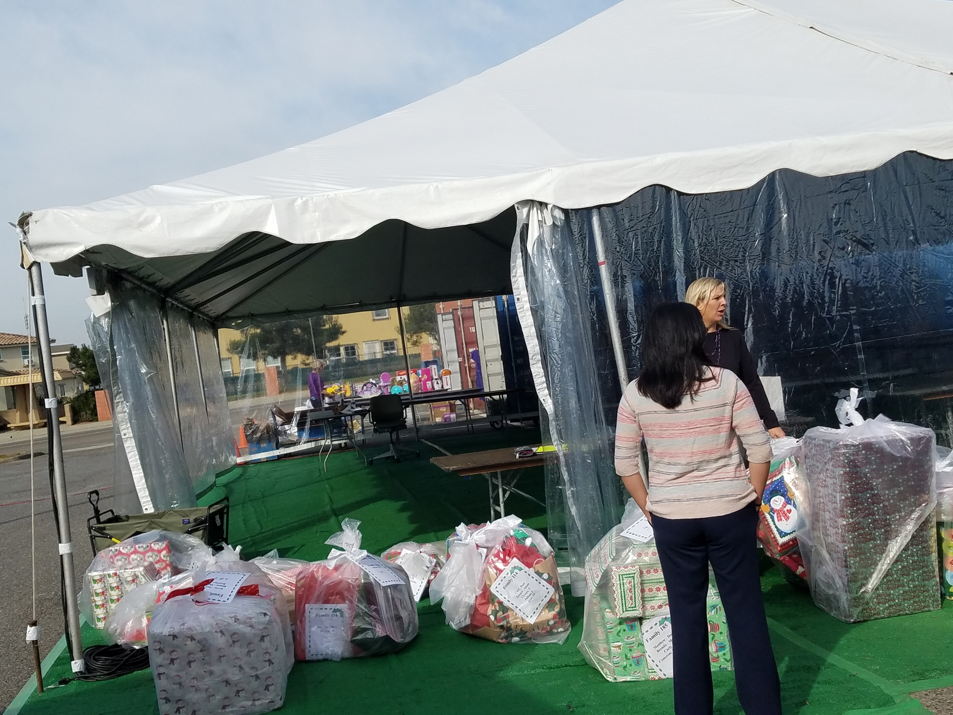 Christmas gifts from SCE employees are lined up at Camp Pendleton.