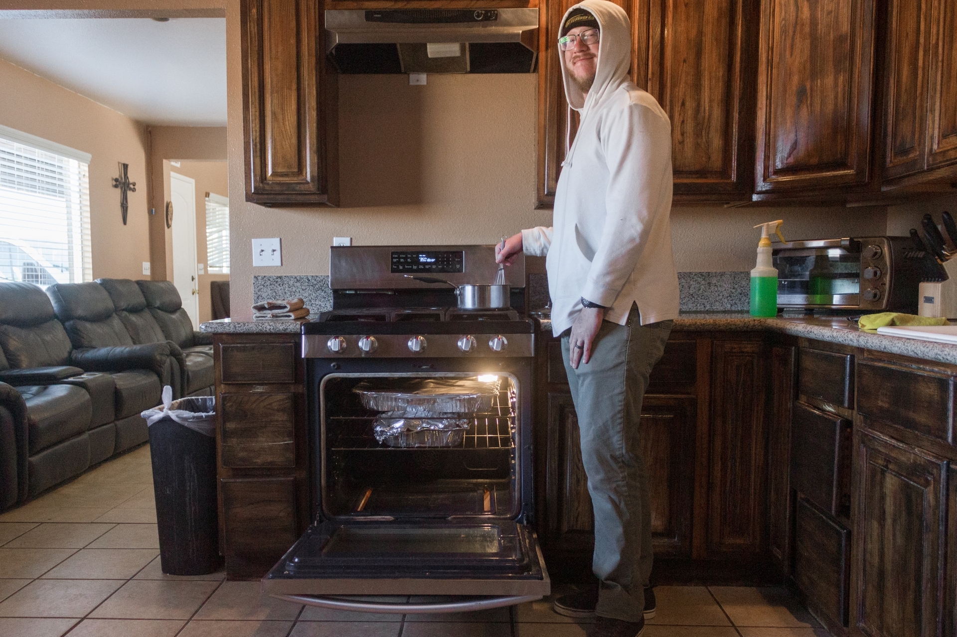The River's Edge Ranch cook Clint Sambel currently prepares meals three times a day for 30 ranchers  in this kitchen.
