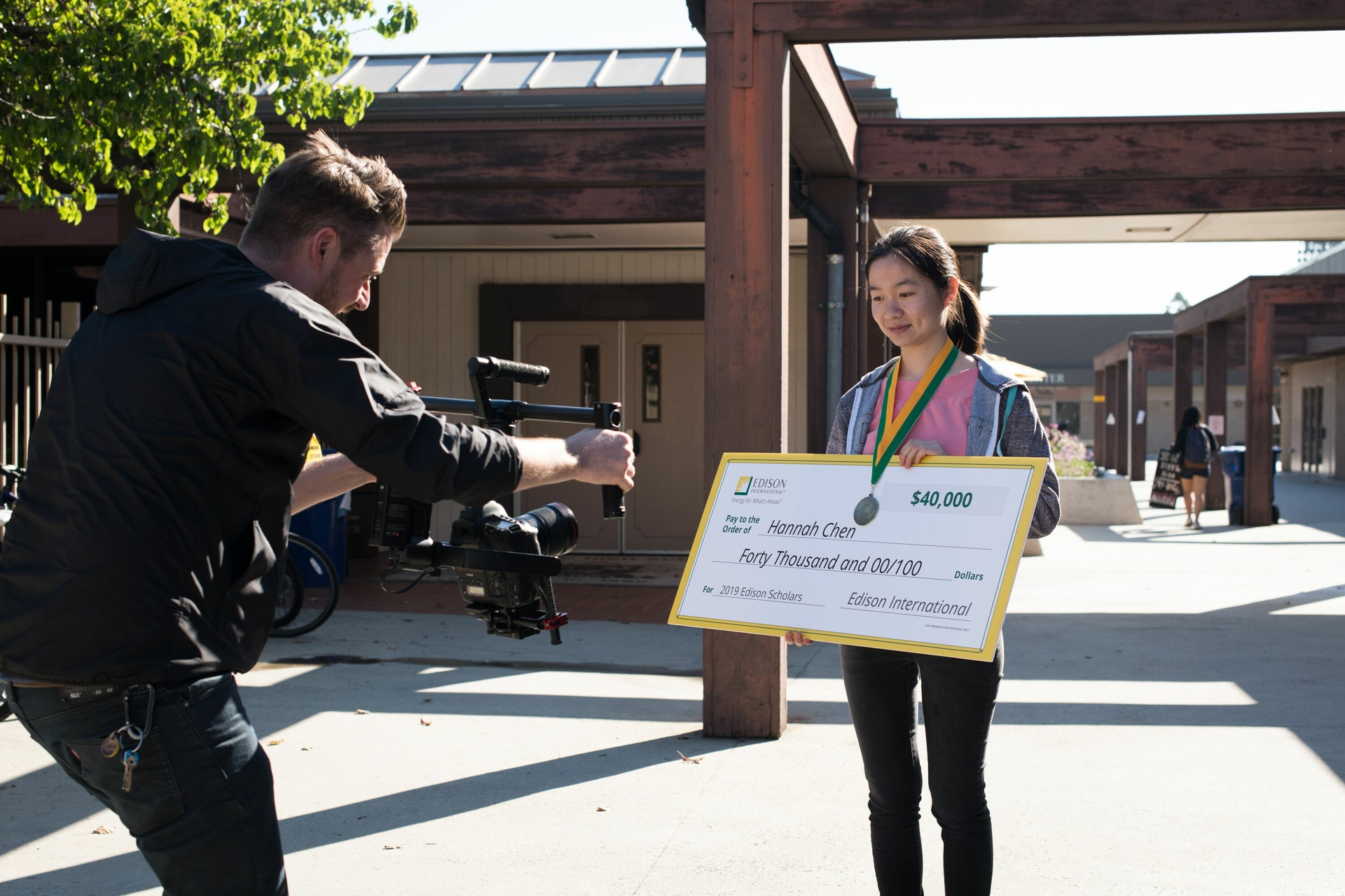 Hannah Chen is videotaped at the Whitney High School campus after winning a $40,000 Edison Scholars scholarship