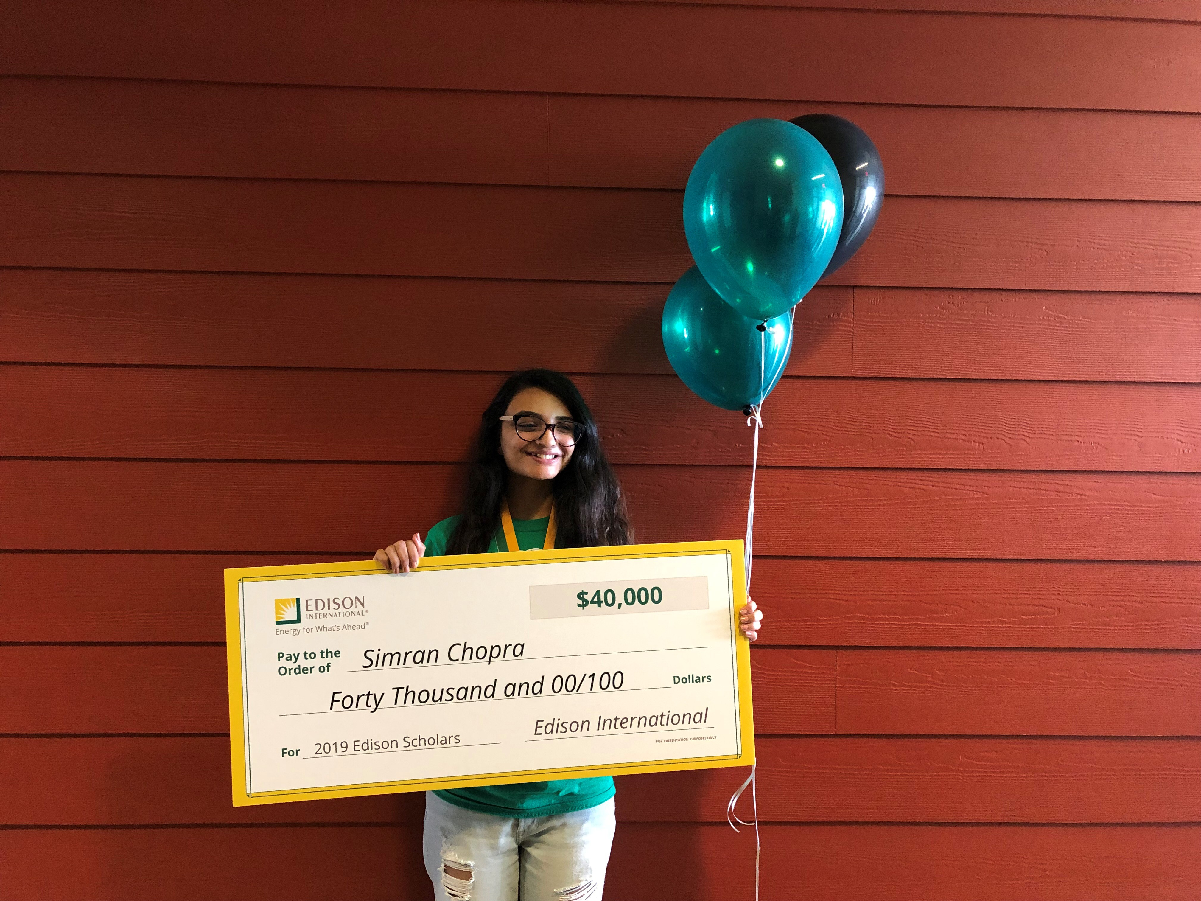 2019 Edison Scholar Simran Chopra at Nogales High School