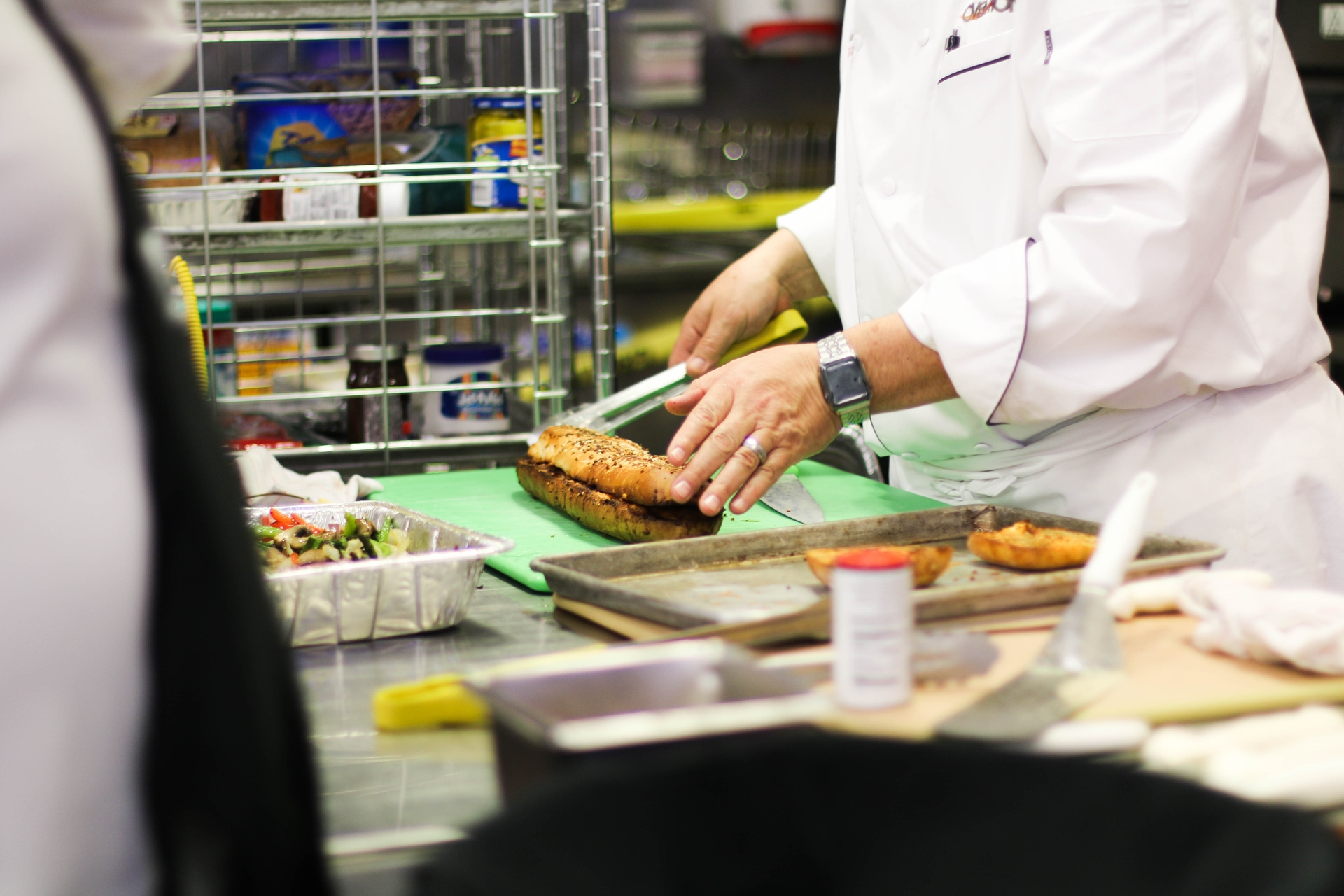 Chef Don Ocheltree prepares toasted pizza bread to show how an energy efficient convection oven with infrared heat cooks.