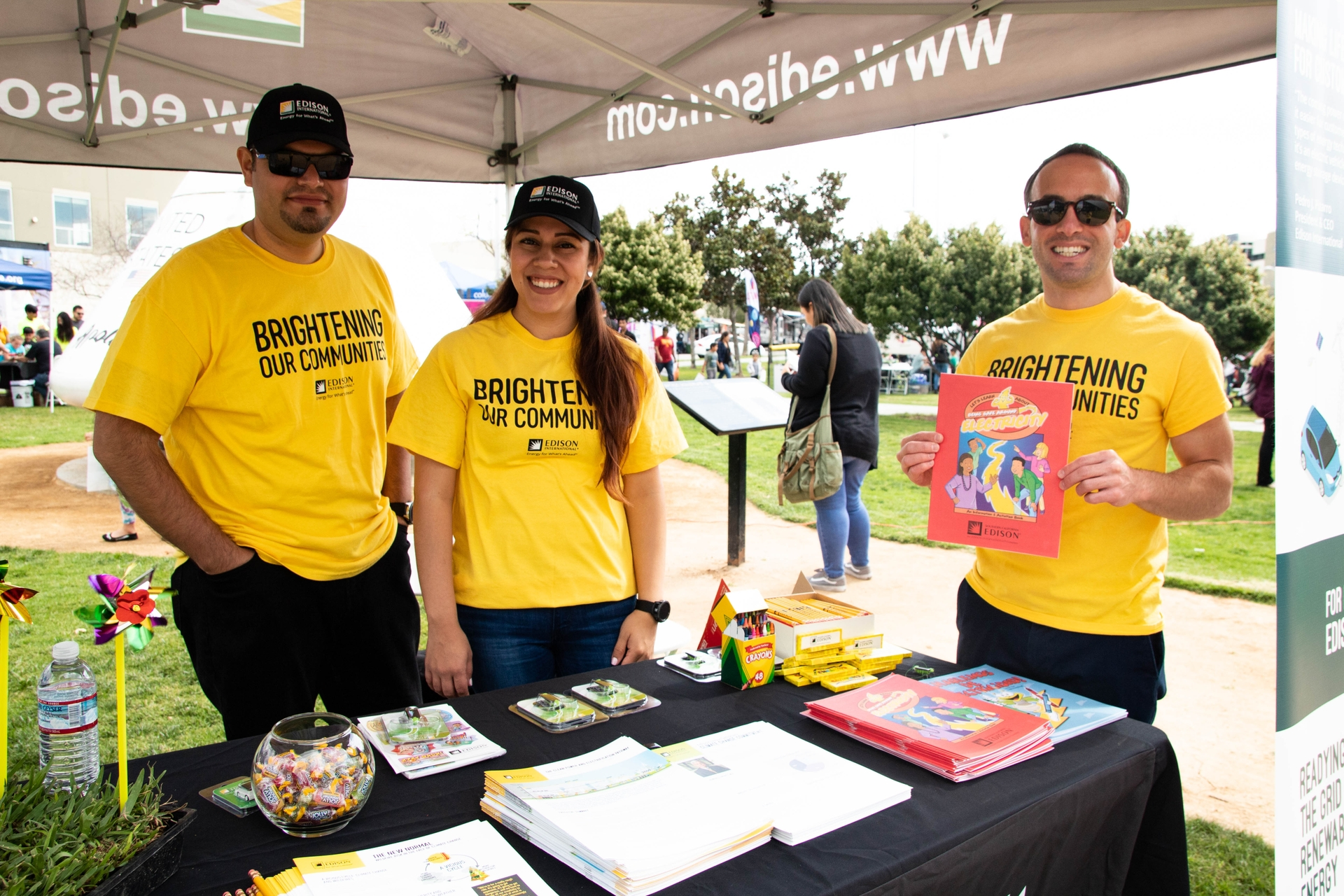 Edison International volunteers handed out coloring books on public safety.