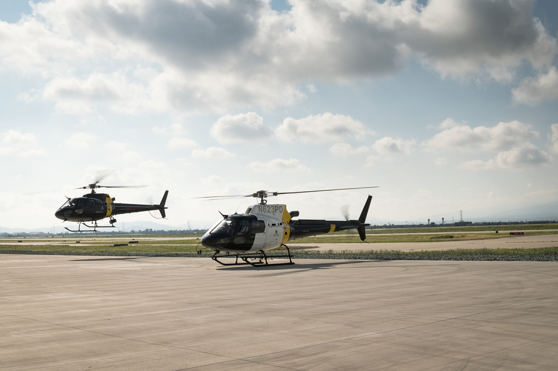 Helicopters land at SCE Air Operations in Chino.