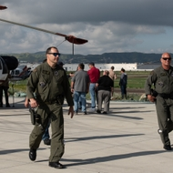 First responders arrive at Chino Airport for the wire avoidance safety seminar.
