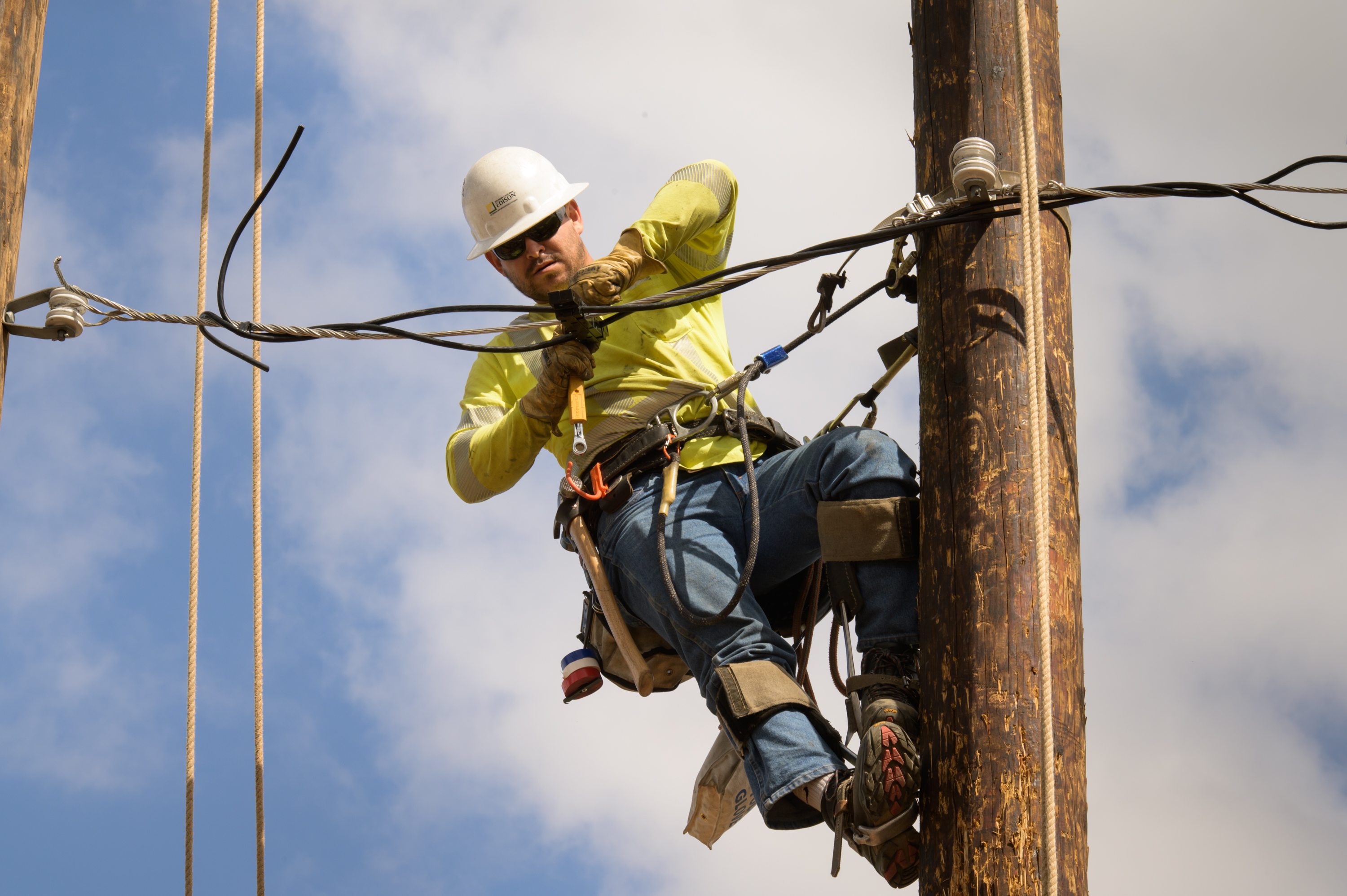 An apprentice works at SCE's lineman training center in Chino.