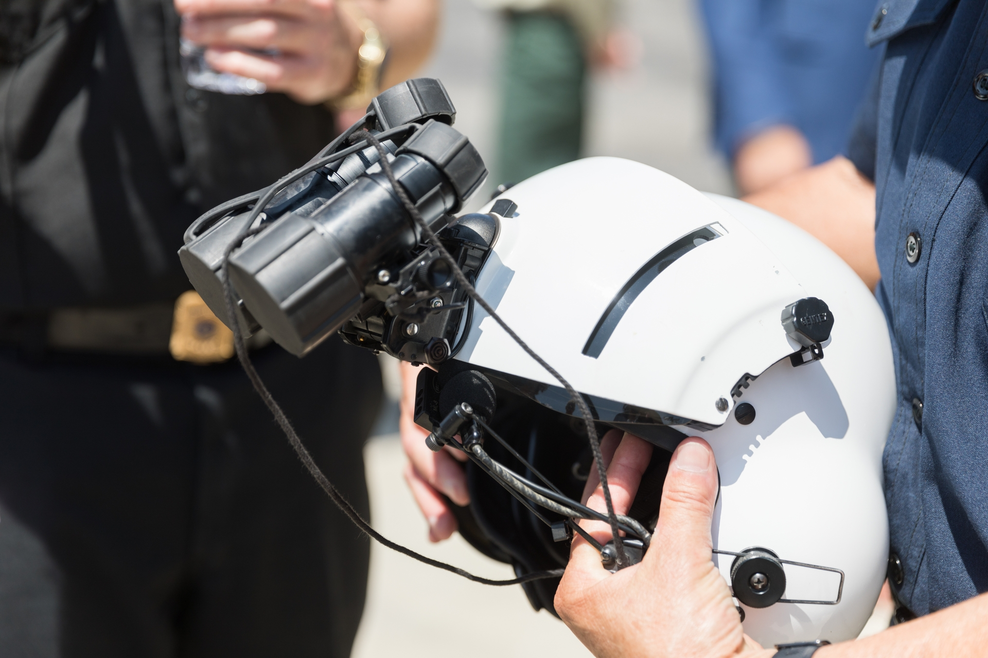 Pilots in a new water-dropping helicopter will use helmets like these equipped with night-vision goggles to fly after sundown.