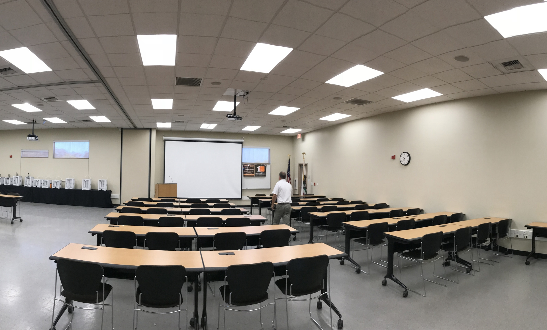 Students' learning now takes places in classrooms using LED lights and automatic motorized window and reflective shades.