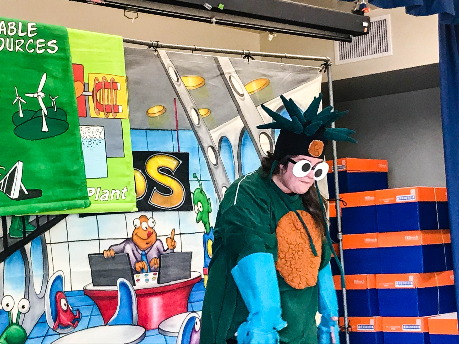 A colorful cast of characters used comical dialogue, costume changes and animated voices to engage students which made learning fun and entertaining.