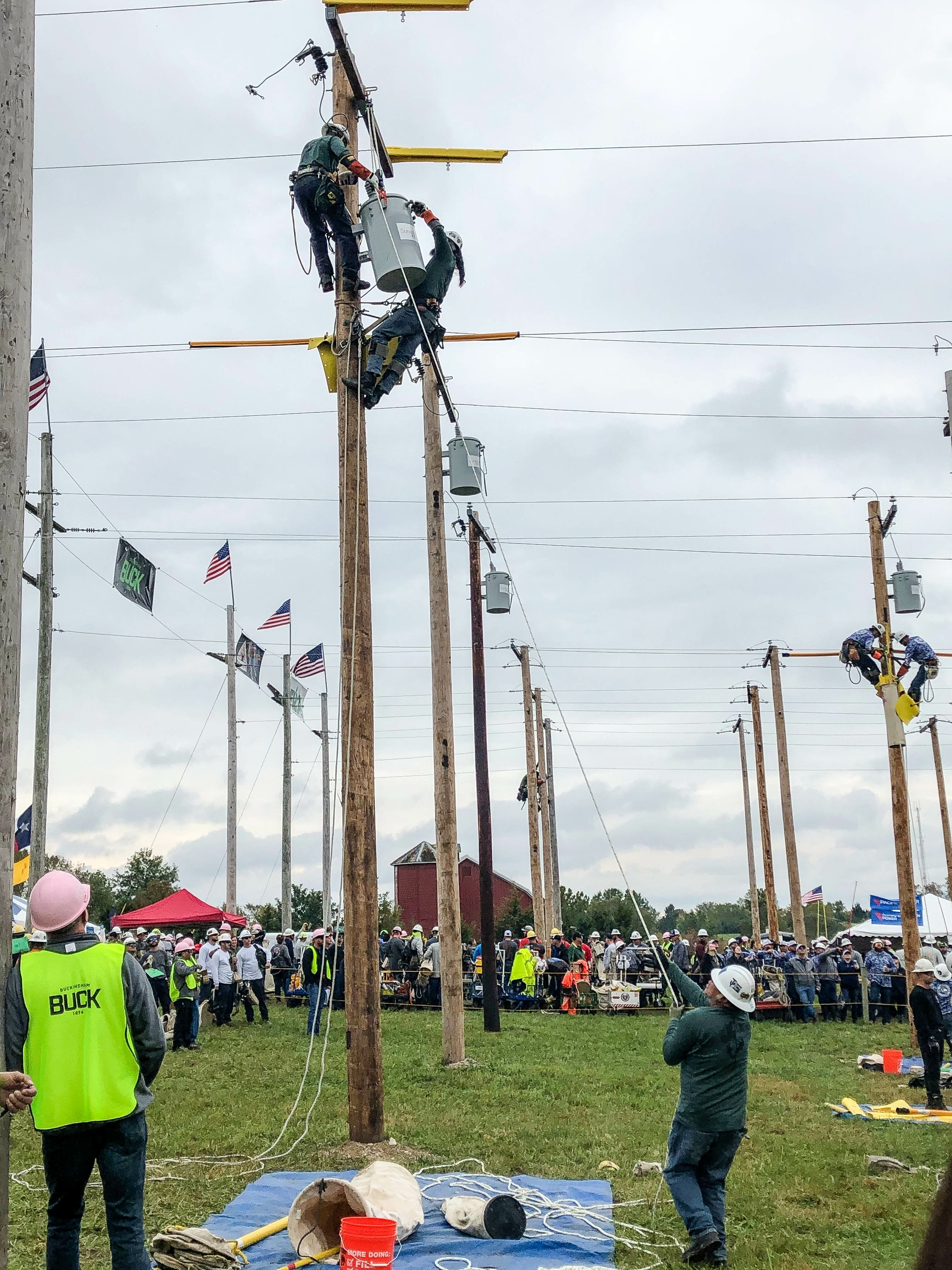 The SCE journeyman team of Ramon Garcia, Jacob Lybbert and Wil Robinson compete at the recent International Lineman's Rodeo in Kansas.