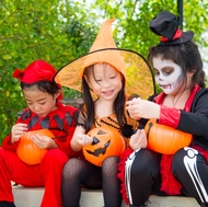 Halloween costumes — bought or homemade — should be flame-resistant and bright or light colored.