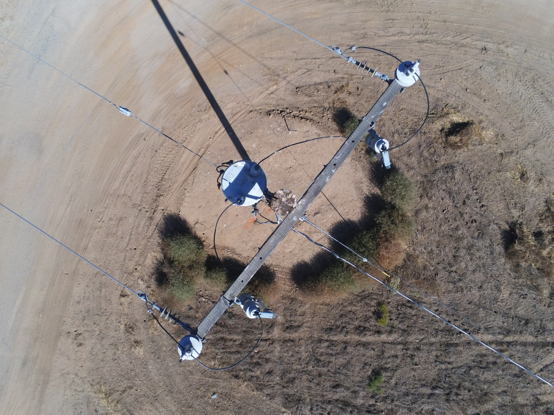 An image taken from a drone of an SCE power pole.