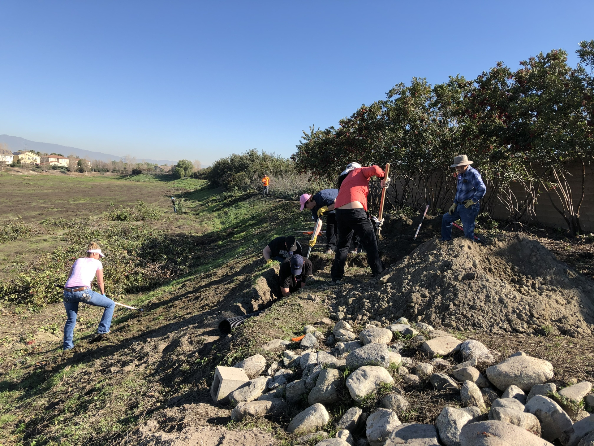 SCE volunteers help dig a trench in Chino for an artificial burrow to house burrowing owls.