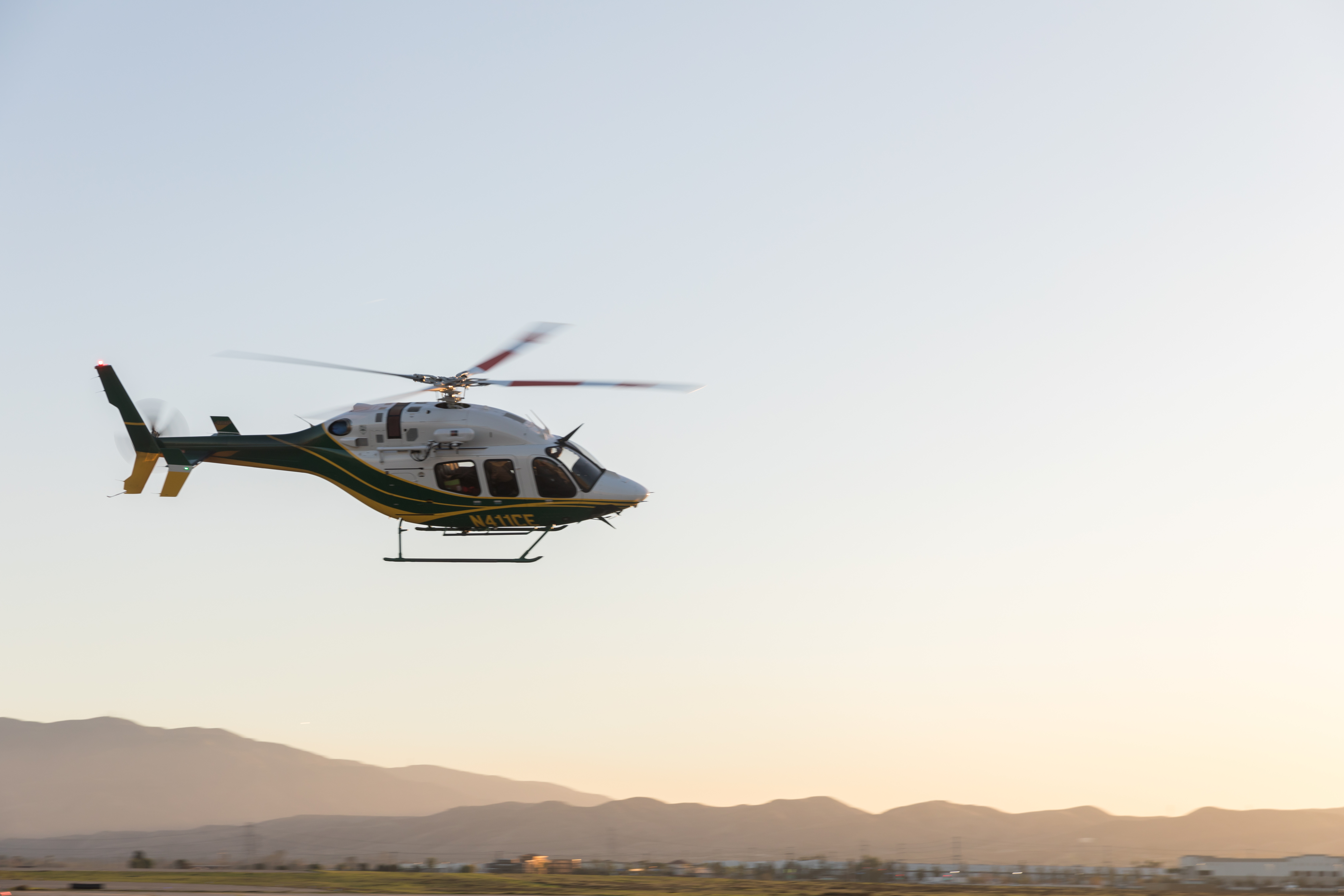 The first of two Bell 429 helicopters recently acquired by SCE lands at Chino Airport.