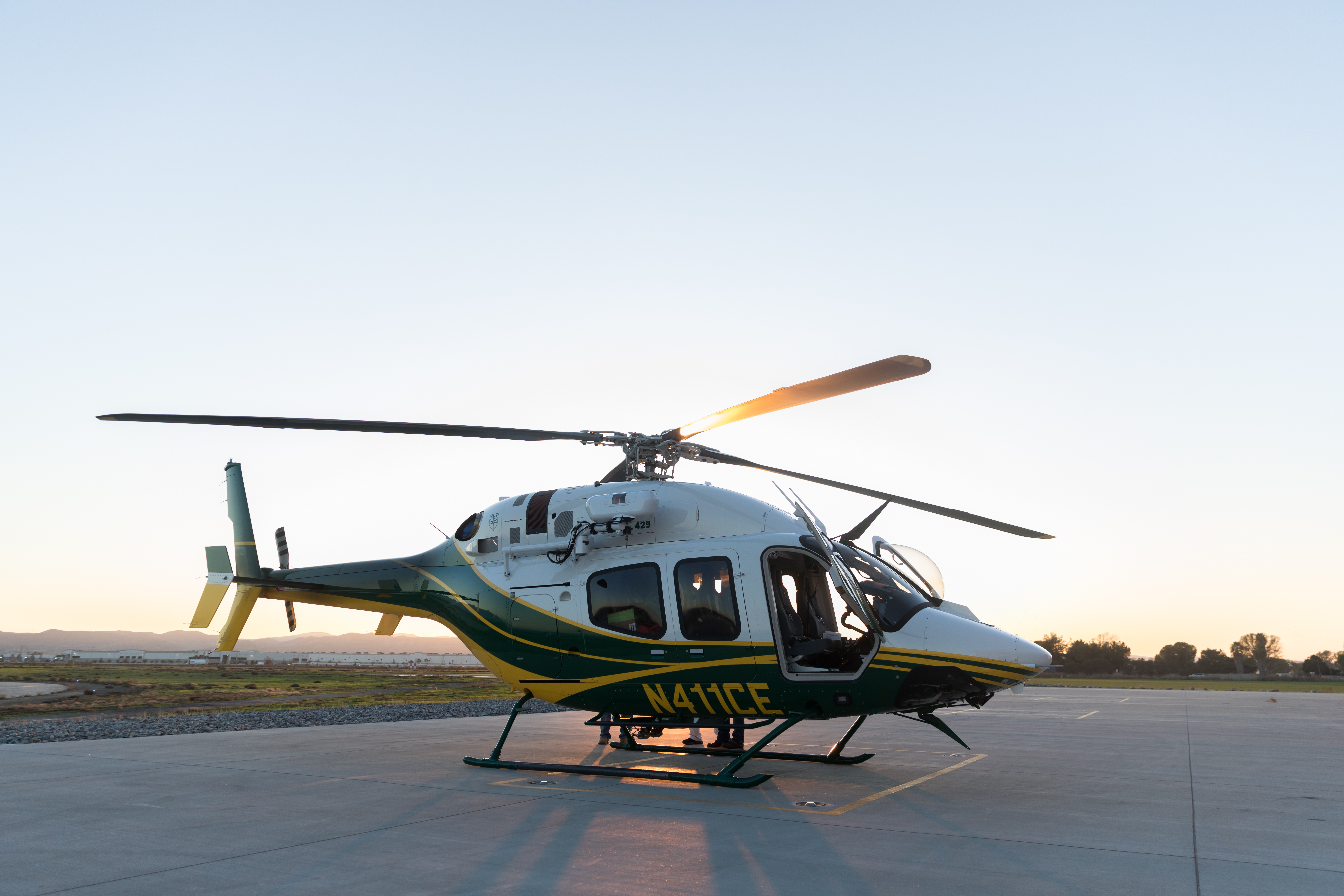 The first of two Bell 429 helicopters recently acquired by SCE makes its way to Chino Airport.