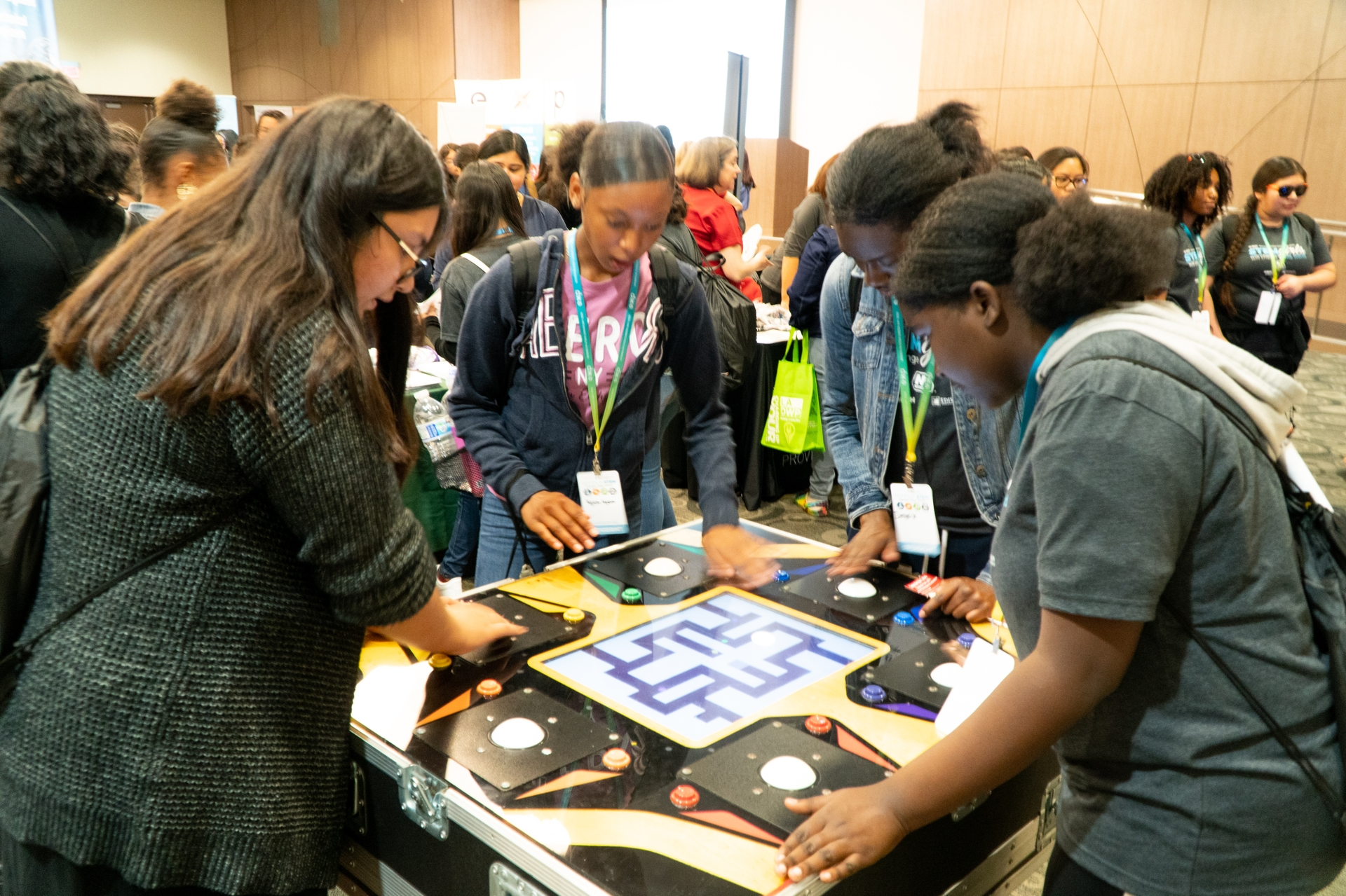 Students have fun at the demonstration exhibits at EXP's Women in STEM Career Day, sponsored by Edison International.