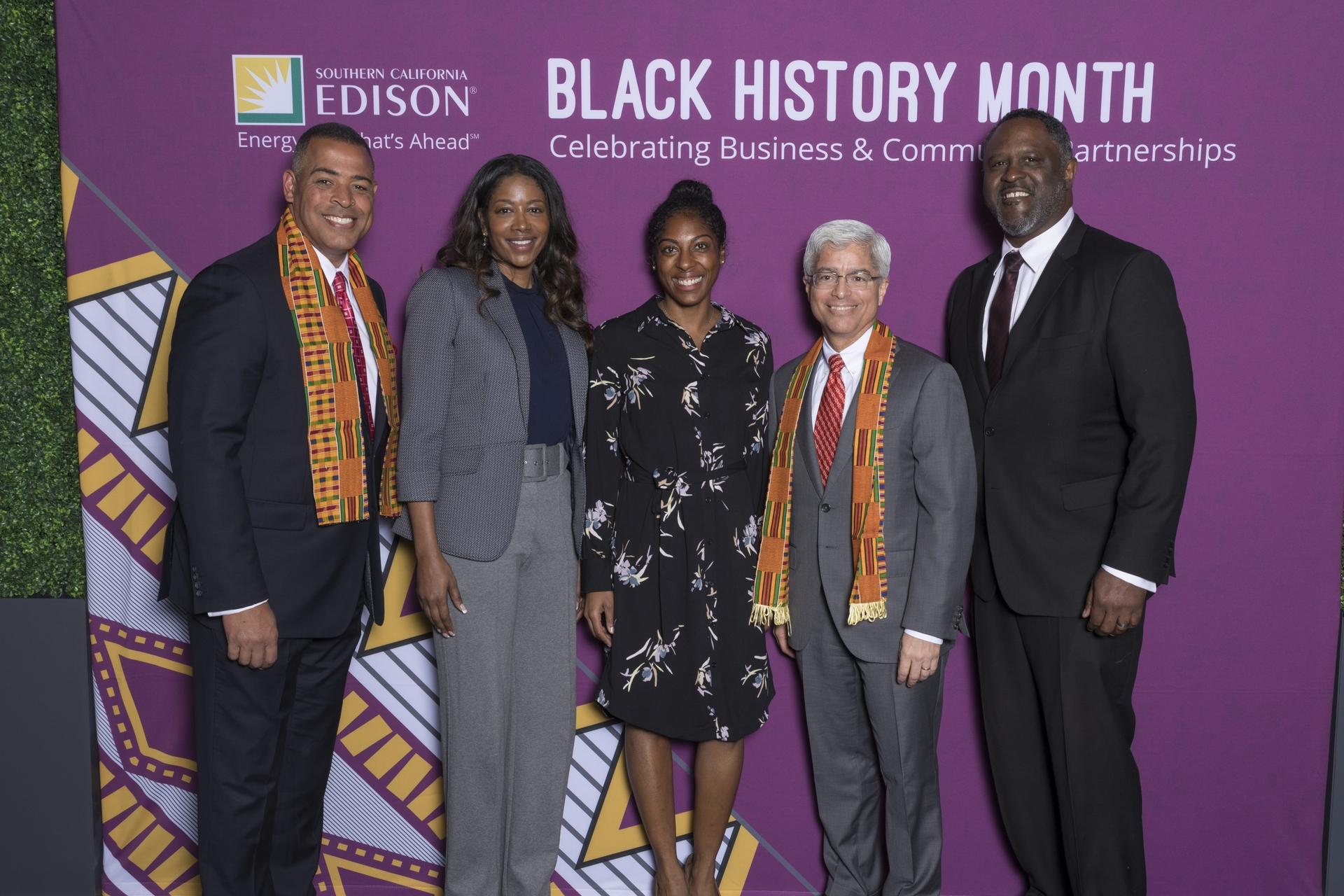 Pictured (l-r): Chris Schauble KTLA5 anchor and emcee; Glory Dolphin Hammes, CEO of IQAir North America, Inc.; Shanita Nicholas, attorney and co-founder of Sip & Sonder; Pedro Pizarro, president and CEO of Edison International; and Robert Lewis, president and board chair of the Black Cooperative Investment Fund.