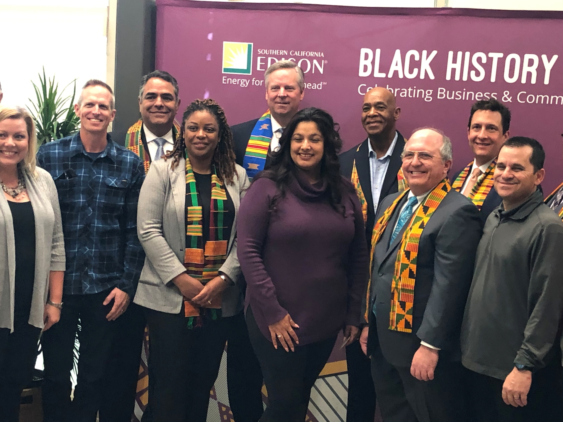 Attendees at SCE's recent Black History Month celebration in Tulare included Kevin Payne, SCE president and CEO (fifth from left) and Carla Peterman, SCE senior vice president, Regulatory Affairs (fourth from left).