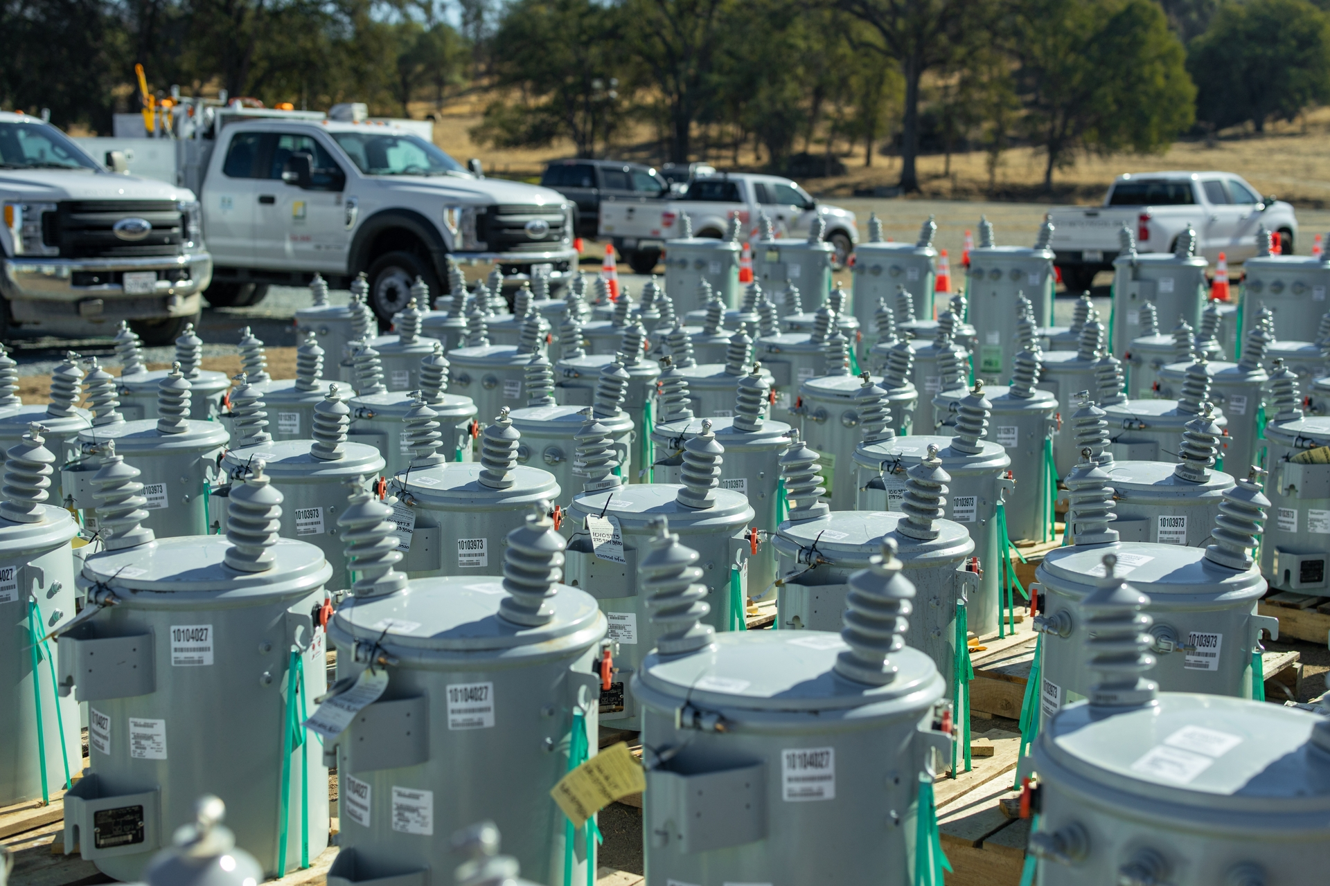 Transformers, which transfer electrical energy across circuits, await use at SCE's 27-acre Auberry Nursery laydown yard.