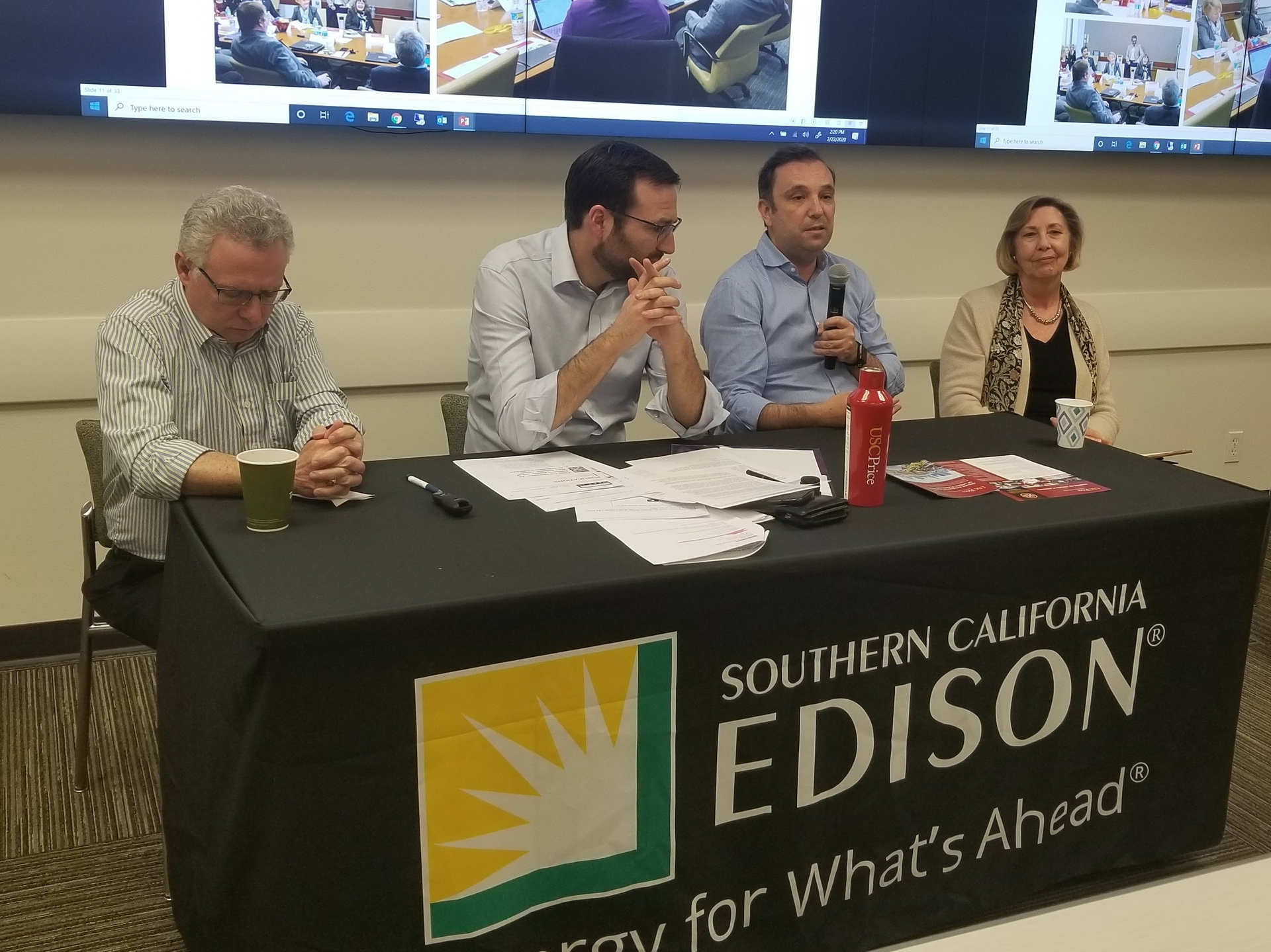 The Sustainability Summit speakers addressed issues including environmental economics, clmate adaptation, sustainability in transportation and urban planning. Pictured (l-r) are: USC Professor Marlon Boarnet; state Sen. Ben Allen; USC Professor Antonio Bento; and Judy Mitchell, councilmember for the city of Rolling Hills Estates and board member for the California Air Resources Board and South Coast Air Quality Management District.