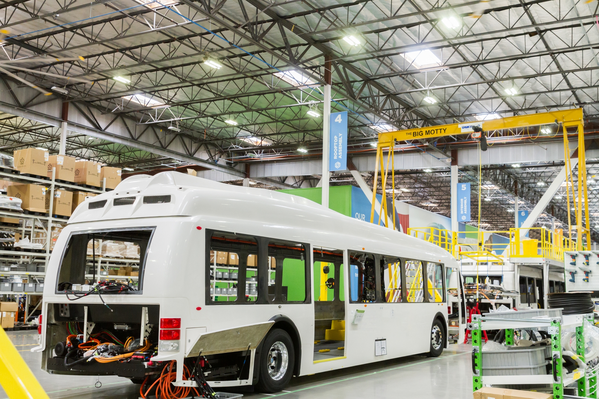 Transit buses on the assembly line at Proterra's manufacturing plant in the City of Industry.