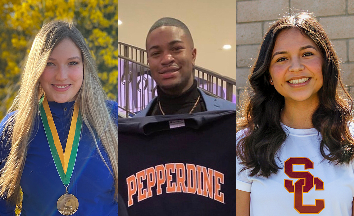 2020 Edison Scholars (pictured l-r): Valentina Costarelli will attend CalTech, Devin Cooke will attend Pepperdine University and Itzel Villanueva will attend USC in the fall.