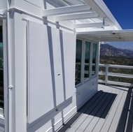The rebuilt Vetter Lookout is made of concrete board and steel frames.
