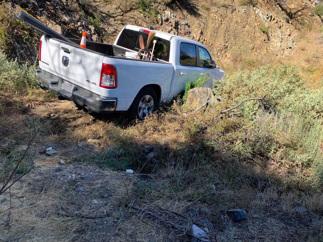 An SCE biologist was asked to respond to a crew truck that was stuck on a dirt road in one of the local forests.