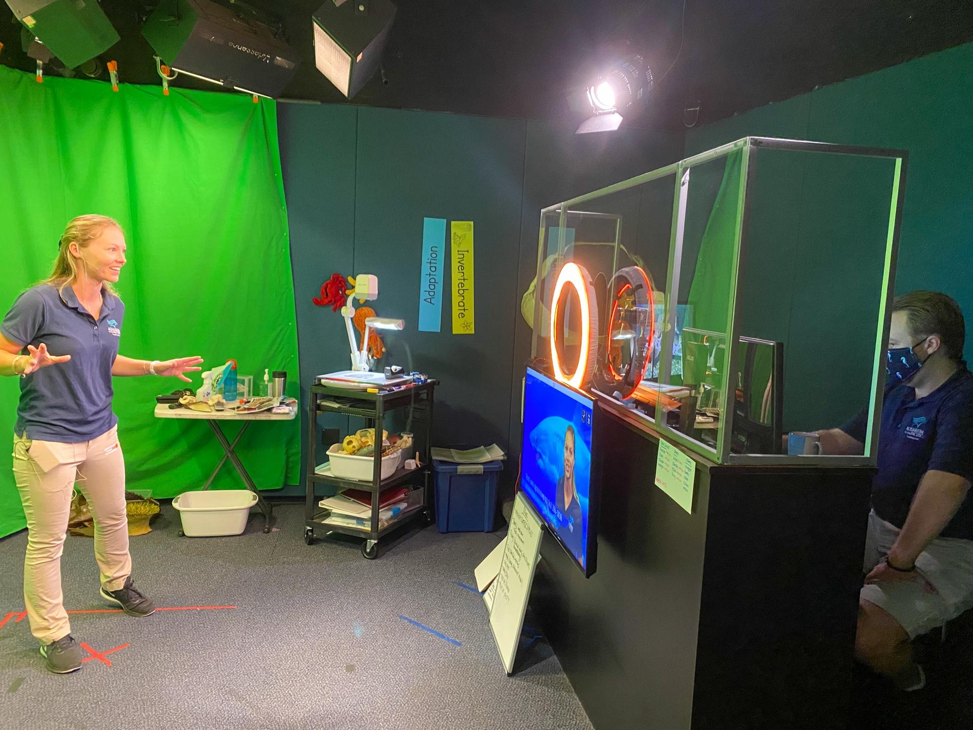 Aquarium educators teach a virtual program.