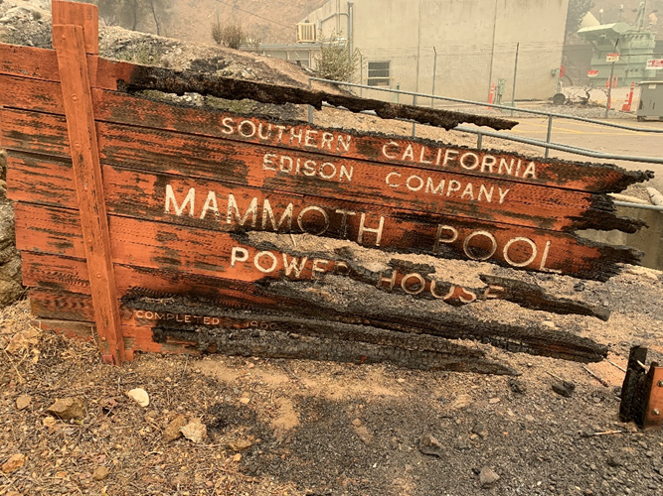 A sign from SCE's Mammoth Pool Powerhouse in Big Creek.