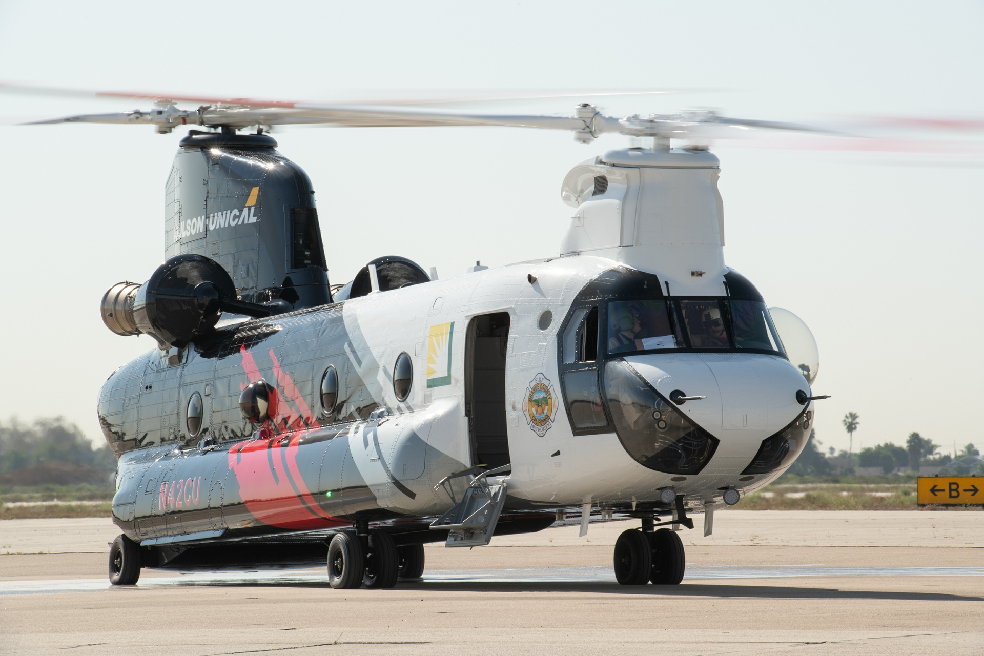 The CH-47 Chinook helitanker is based at the Joint Forces Training Base in Los Alamitos and is available around-the-clock for daytime and nighttime fire suppression within SCE's 50,000-square-mile service area — and beyond, if needed.