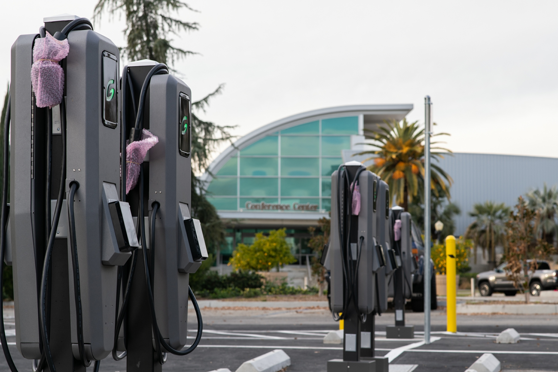 A total of 200 EV charging ports, so new they're still in plastic wrap, have been installed at Fairplex in Pomona, site of the L.A. County Fair.