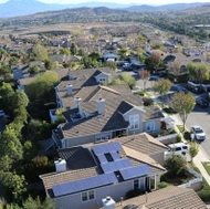 Aerial view of homes.