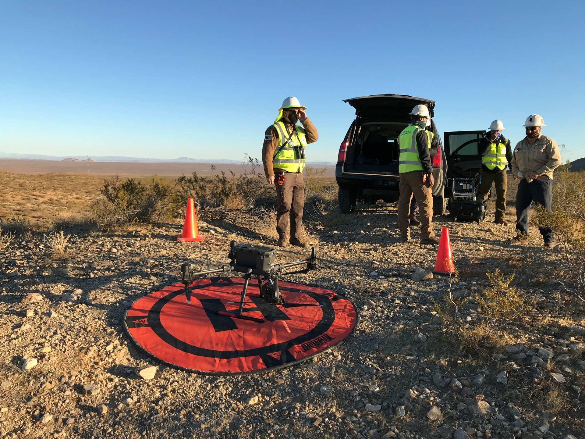 A launch and recovery pad for drones to takeoff and land.