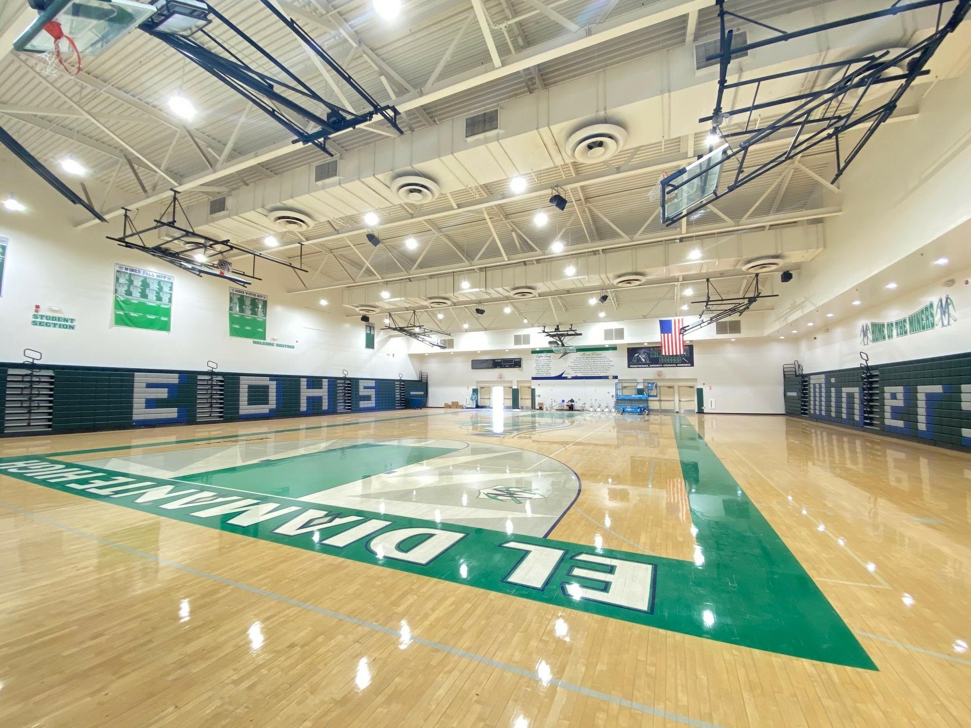 El Diamante High School's gym following the latest lighting upgrade.
