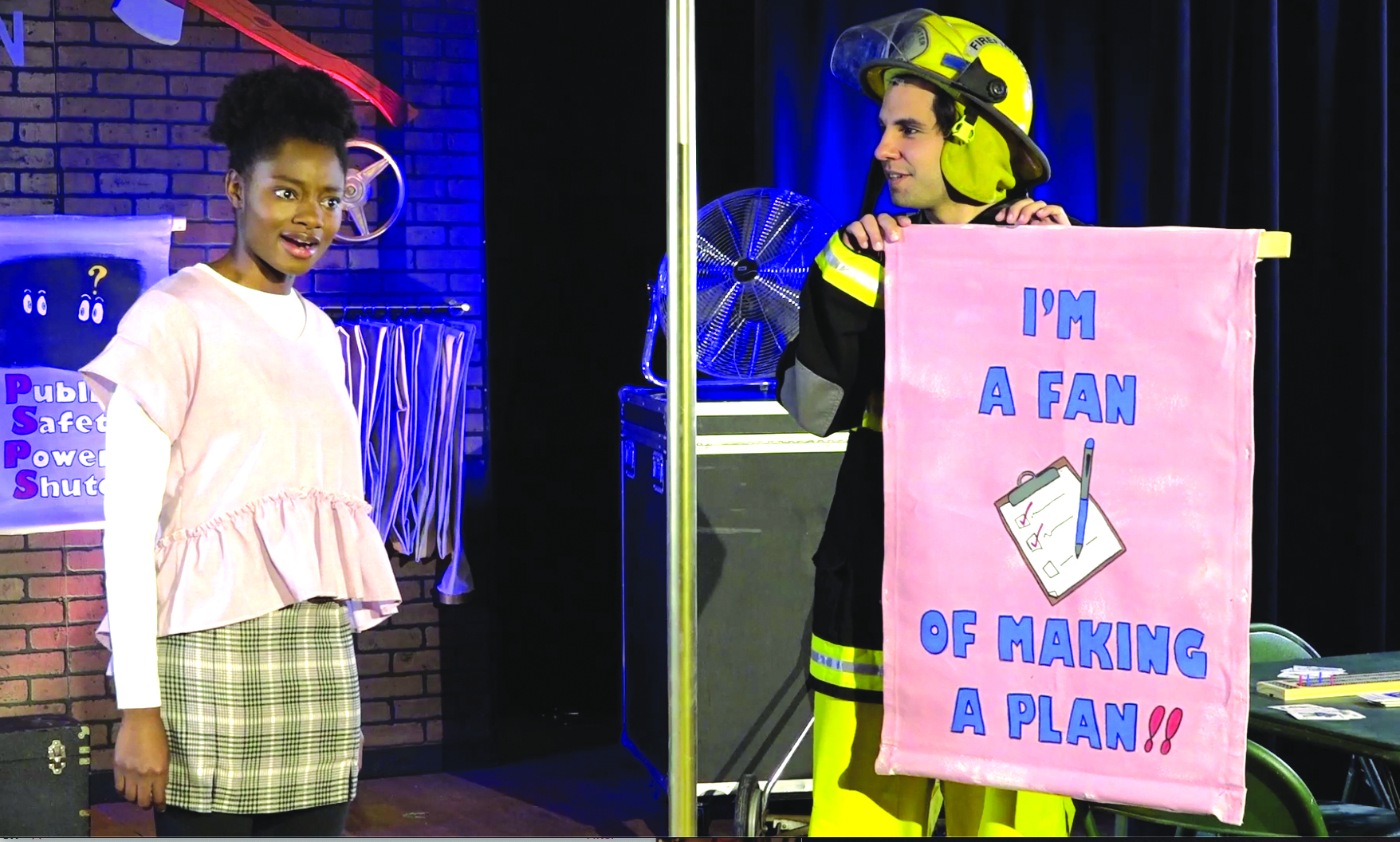 Through her adventures, Penelope Planner, the heroine of the play, teaches students the importance of making a plan for emergencies.