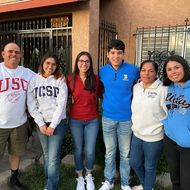 Siblings Gustavo and Diana Valenzuela (pictured, middle) are both Edison Scholars.