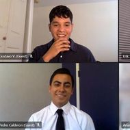 Gustavo Valenzuela (top left) learned he was an Edison Scholar during a surprise virtual annoucement.