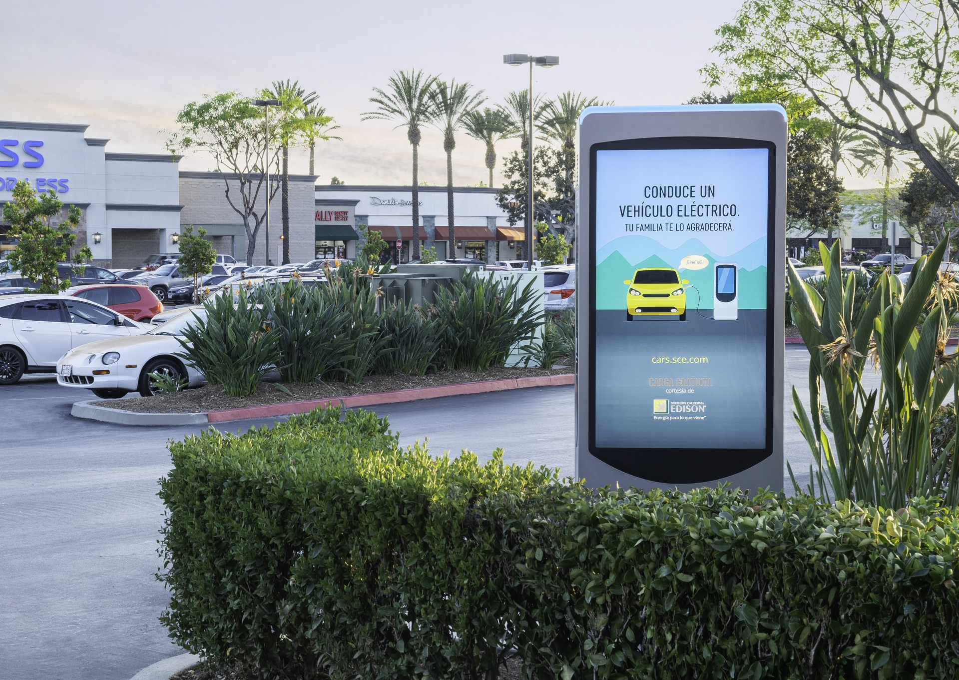 Digital ads about the benefits of electric vehicles will be featured on Volta EV charging stations equipped with 55-inch digital displays located in front of retail locations