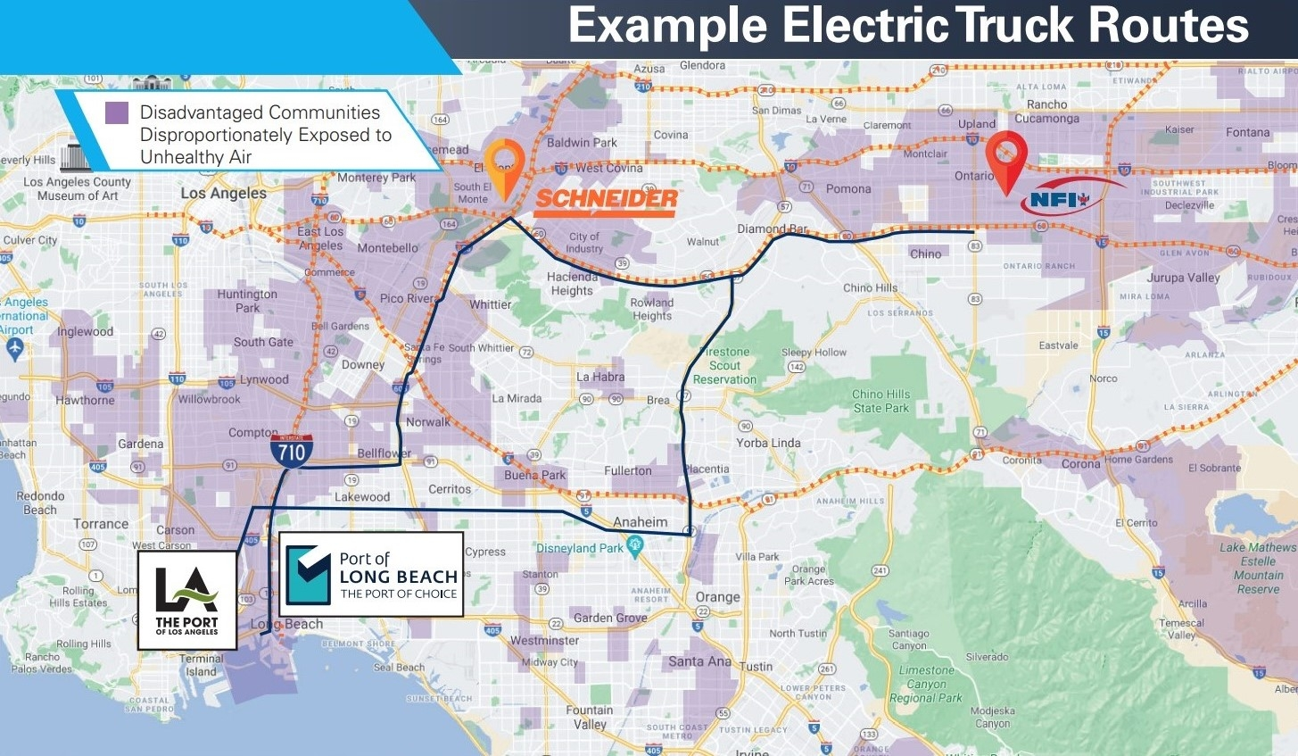 The electric trucks will benefit environmentally-impacted communities near highways, warehouses and intermodal rail yards that serve the twin ports of Los Angeles and Long Beach.