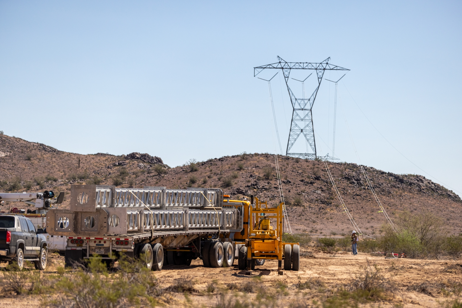 Lindsey tower components delivered to the site of downed transmission lines in urgent need of repair.