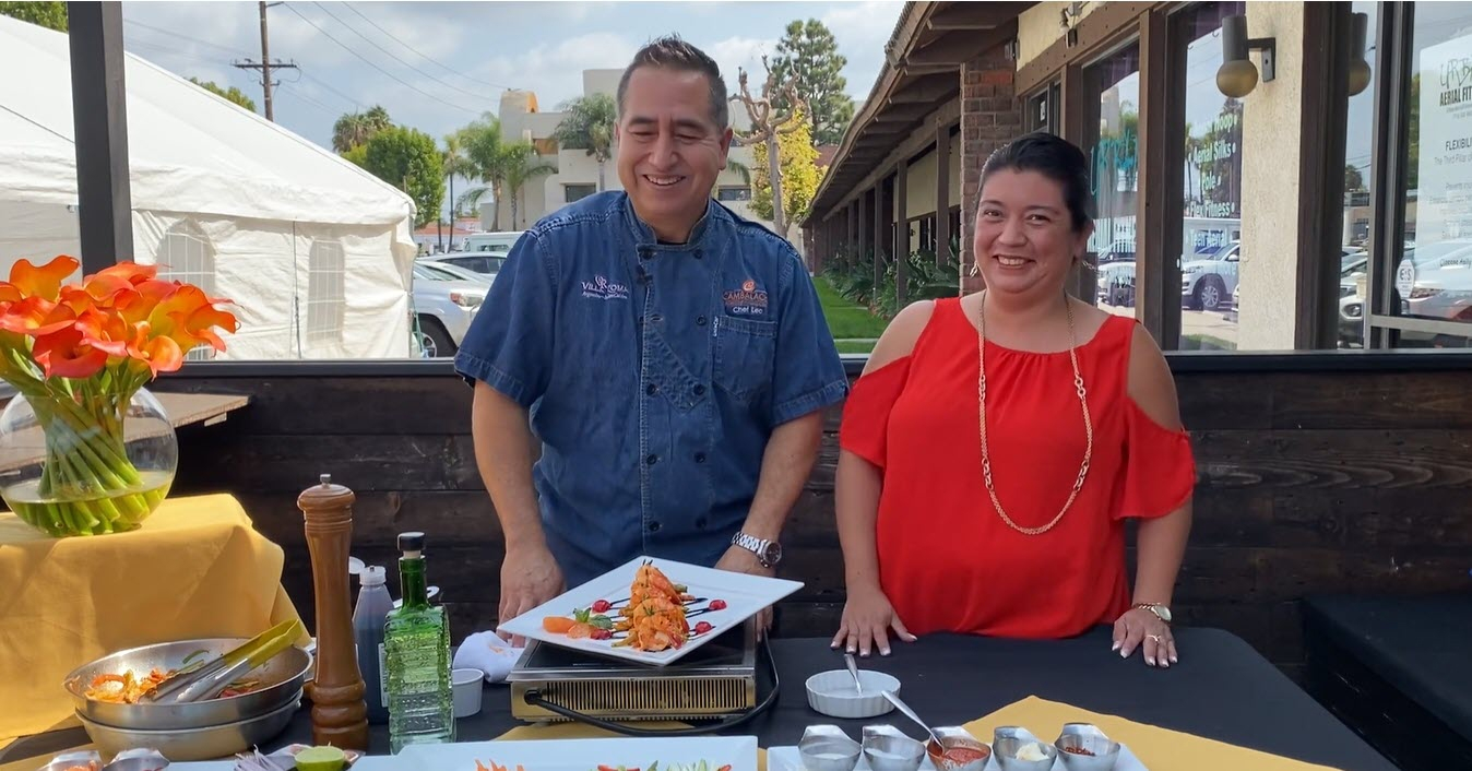 Chef Leo Razo and Teresa Razo of Cambalache Grill demonstrated traditional Jalisco cuisine with a Tequila Sunrise Shrimp dish.