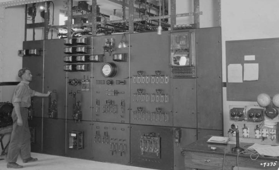 October 1921: A DC switchboard operator at Powerhouse 8.