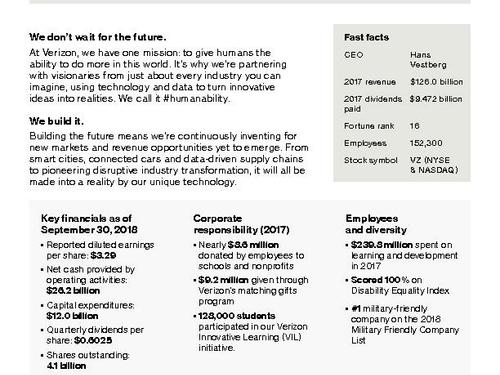 Verizon Corporate Fact Sheet