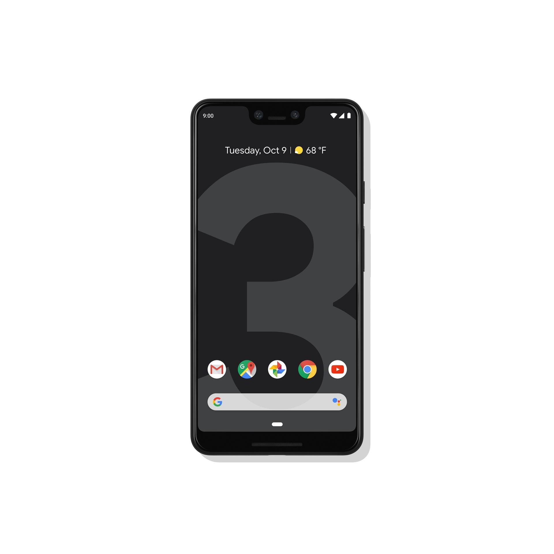 Google Pixel 3 XL in black (front)