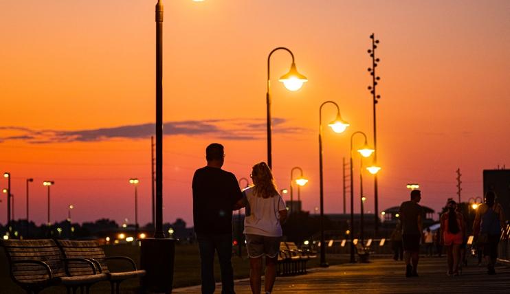 Omaha's Riverfront at dusk