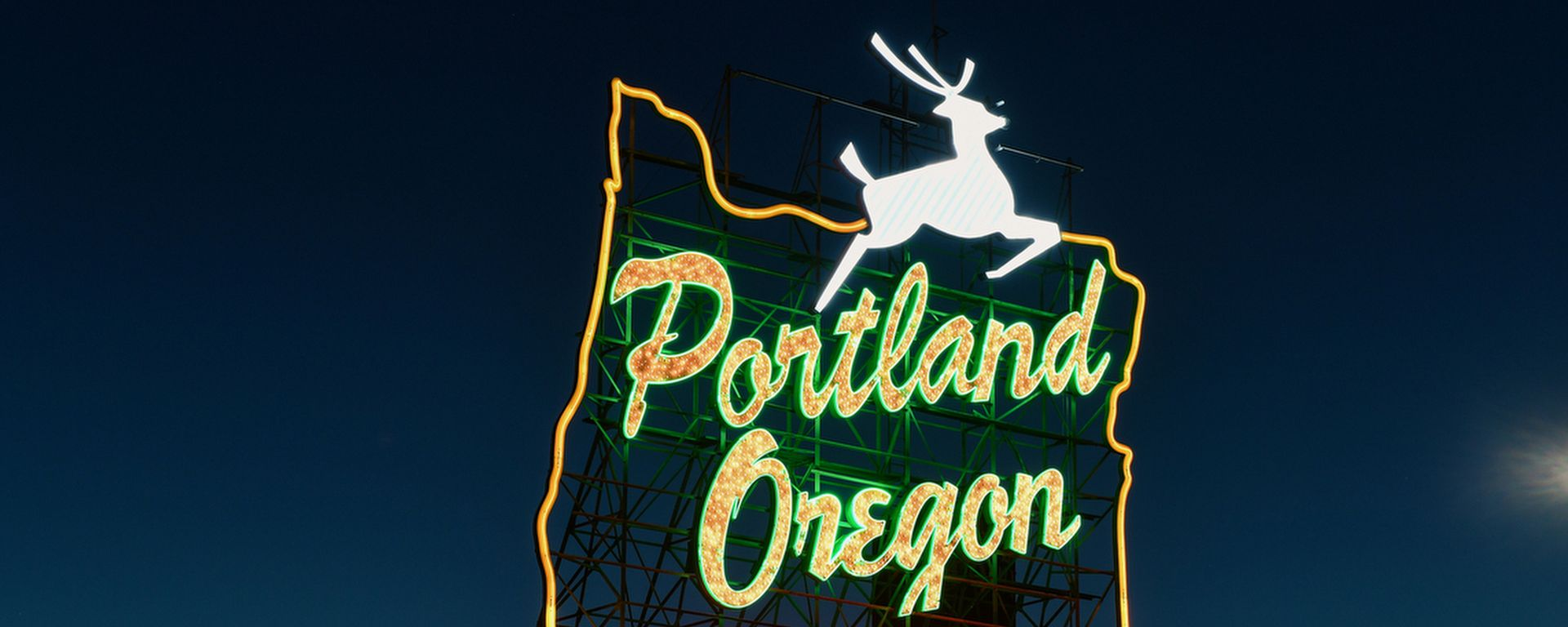 Portland White Stag Sign