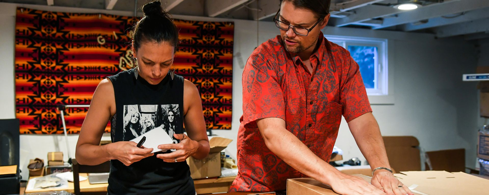 Ginew Owners Erik Brodt and Amanda Bruegl in Their Workspace